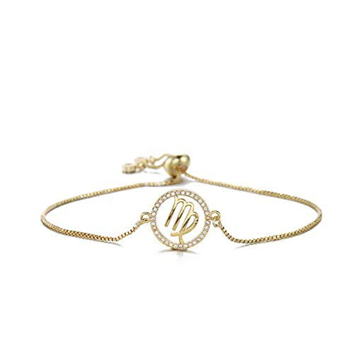 Trendy Women Girl Zodiac Sign Bracelet Gold Color 12 Constellations Charm Bracelets Adjustable Cz Jewelry Birthday Gift,Virgo