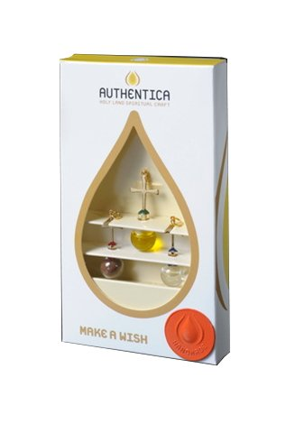 holy water from Jordan River, oil and soil bottles, and Cross – 24 karat gold-plated brass.Glass Bubbles handmade – hanging Triplet Charm Set
