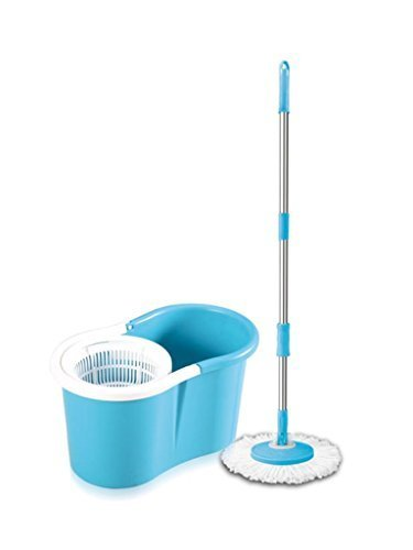 Spin Mop Magic Mop + Cleaner Bucket + 2 Mop Heads (Blue) - 4