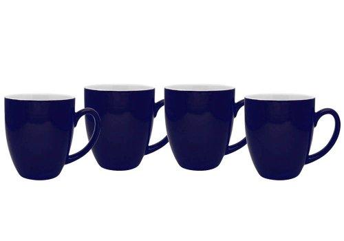 Culver 16-Ounce Bistro Ceramic Mug, Midnight Blue, Set of 4 (Cup 16 Ounce Bistro)