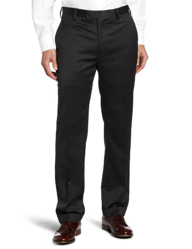 Louis Raphael Men's Modern Fit Flat Front Wool Blend Suit Separate Dress Pant, Charcoal, 38W x 32L