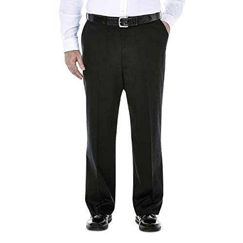 Haggar Men's Big-Tall Premium No Iron Classic Fit Plain Front Pant, Black, 46x34