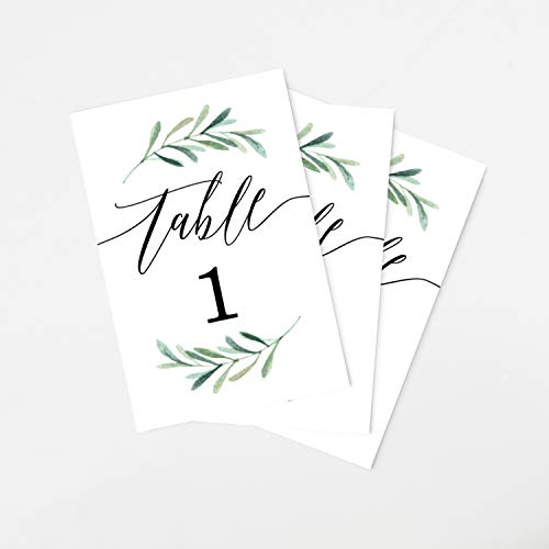 Tumbalina Wedding Table Numbers, Botanical Greenery Design, 4x6 Calligraphy Design, Double Sided, Numbers 1-25 -