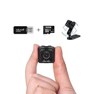 Mini Spy Camera | 1080P Small Spy Cop Nanny Cam | Wireless Mini Hidden Camera | Small Camera with 32Gb sd Card and Card Reader | No WiFi Needed | Security Camera