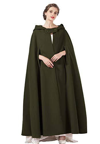 Hooded Cloak Wedding Cape for Women Bridal Winter Robe Wool Blend Full length Halloween Costume Christmas More Colors (Army Green, One Size) -