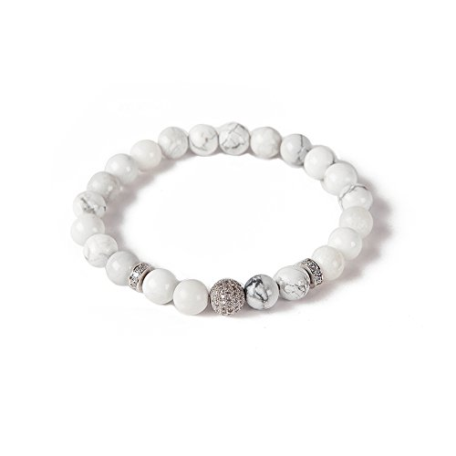 mao mao jewelry 8mm Rock Bead Lava Rock Stone Bead DIY Diffuser Charm 8 inch Match Watch Bracelet Set Adjustable Bangle (White wholite +White Diamond Ball)