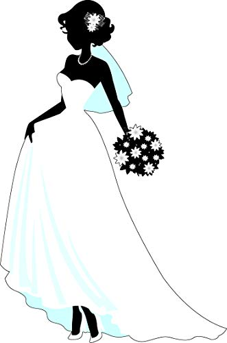 Beautiful Bride Wedding Dress Silhouette Dress Boquet Marriage Bridal Shower Bachelorette Party Cartoon Vinyl Sticker (8