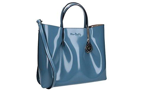 Bolsa mujer de mano bandolera PIERRE CARDIN azul cuero Made in Italy VN1141