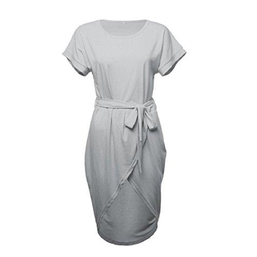 c479348584c7 PAOLIAN Frauen Sommerkleid Kurzes Minikleid Kurzarm Beiläufig Bodycon  Arbeit Asymmetrisches Partykleid Cocktailkleid Gray 5S5Qzr5 ...