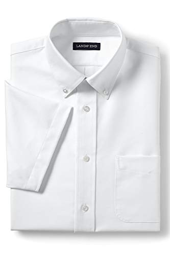 Lands' End School Uniform Men's Short Sleeve Oxford Dress Shirt White ()