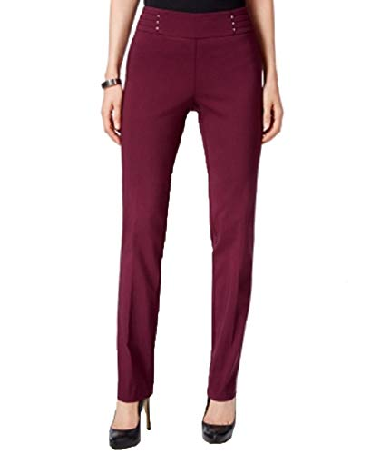 JM Collection Petite Studded Pull-On Pants (Maroon Dahlia, PXL)