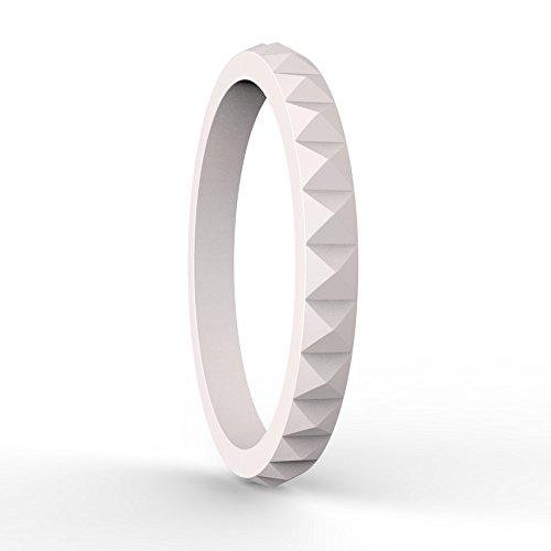 - Varovi Women's Silicone Ring. Diamond Style Wedding Band Single Ring Soft Pink Size: 6