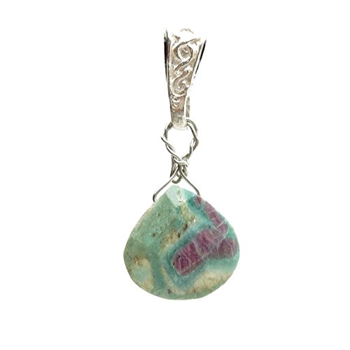 """Ruby Fuchsite Pendant 01 Green Red Faceted Drop Silver Gemstone 1.4"""" (Gift Box)"""