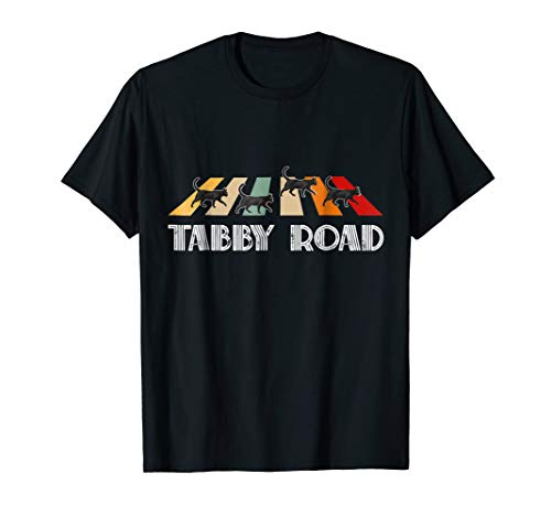 Tabby Road Cats T Shirt Cool abbey Cat Graphic Tee