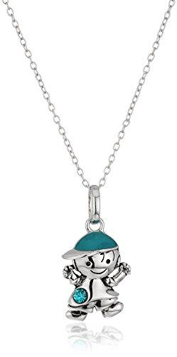 Hallmark Jewelry December Birthstone Sterling Silver Crystal Boy Pendant Necklace, 18