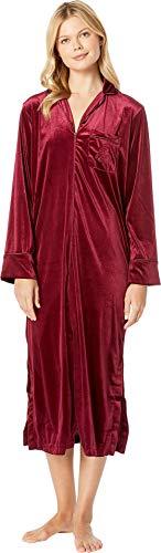 Lauren Ralph Lauren Women's Velvet Long Sleeve Notch Collar Zip Front Caftan Red - Womens Zip Front Caftan