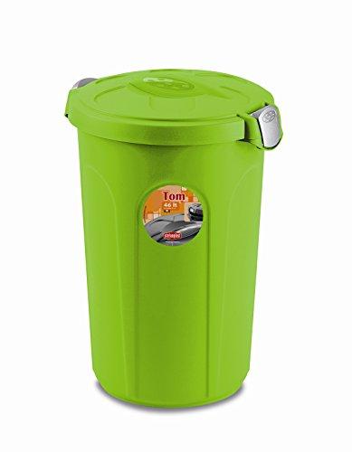 XL Tierfuttertonne, Futtertonne aus lebensmittelechtem Kunststoff (PP) mit Fassungsvermögen von ca. 46 Liter. Formschön, in Grün. Maße BxTxH in cm: 44,5 x 40 x 61 cm