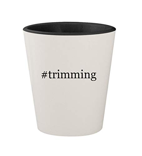 #trimming - Ceramic Hashtag White Outer & Black Inner 1.5oz Shot Glass
