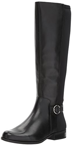 Nine West Women's Cominback Leather Knee High Boot, Black/Black Leather, 6.5 M US