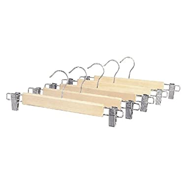 Whitmor 6026-341 Natural Wood Collection Skirt Hangers Set of 5