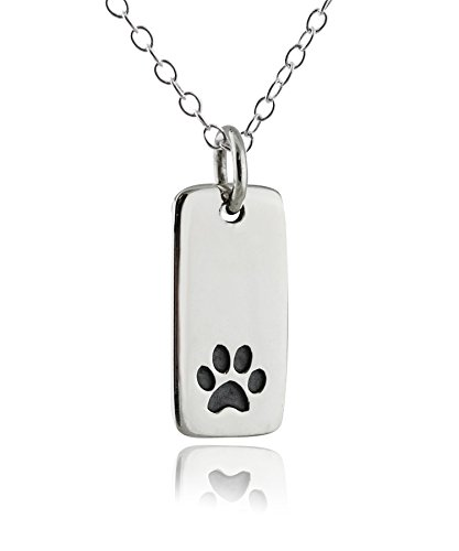 Sterling Silver Paw Print Tag Charm Pendant Necklace, 18 Inch Chain, Dog Cat Pets (Charm Dog Silver Pendant Tag)