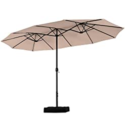 Garden and Outdoor PHI VILLA 15ft Double-Sided Extra Large Patio Umbrella (Base Included) Outdoor Twin Umbrella patio umbrellas