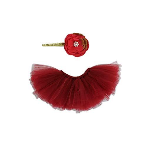 HugeStore Baby Newborn Infant Photo Photography Prop Costume Outfits Tutu Dress Skirt Suit Headband Set Deep Red