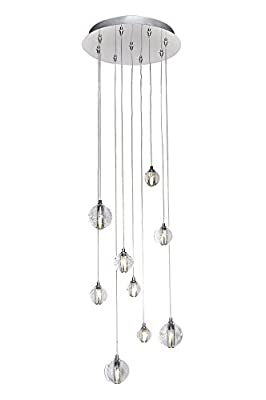 ET2 E24506-91PC Harmony 9-Light LED Multi-Light Pendant, Polished Chrome Finish, Bubble Glass, G4 LED Bulb, 40W Max., Dry Safety Rated, 2900K Color Temp., Low-Voltage Dimmable, Glass Shade Material, 9750 Rated Lumens