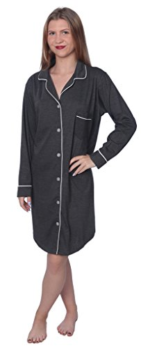 Beverly Rock Women's Soft Jersey Knit Cotton Blend Button Down Sleepshirt Pajama Top with Piping Finish Y18_WPJ01 Charcoal 3X