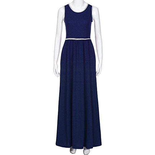 Encaje Elegante De Larga Falda Camiseta Largo Boda Casual La Cuello Verano Fiesta Largo Maxi Bolsillo Mujer Redondo Vestido Azul Vestir JYC Vestido Vestido con FAznw0qx