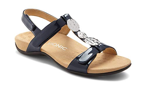 Vionic Women's Rest Farra Backstrap Sandal - Ladies Adjustable Sandals with Concealed Orthotic Support Navy Patent 6W