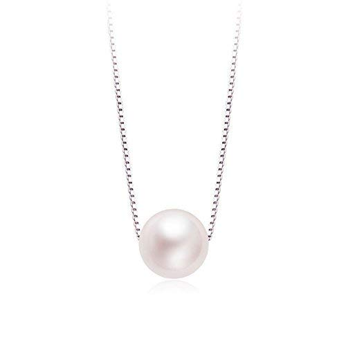 CAT EYE JEWELS Pearl Pendant Necklace, S925 Sterling Silver Chain Synthetic Shell Pearl Necklace -