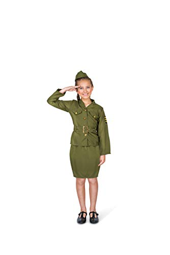 Army Military Costume for Girls, with Top, Skirt and Cap, Kids 5-6 Years, Medium