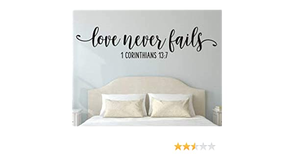LOVE NEVER FAILS Scripture Decor Vinyl Wall Decal Lettering Words Religious 48/""