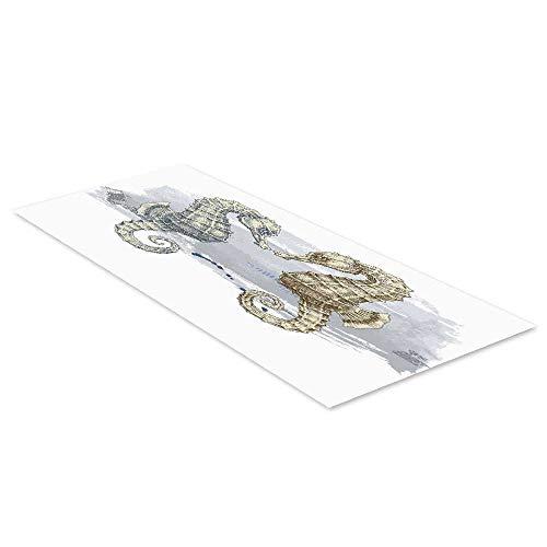 C COABALLA Animal Decor Waterproof Floor Sticker,Seahorse Lovers in Paintbrush Artisan Technique Grunge Splash on Background for Kitchen Living Room,35.4