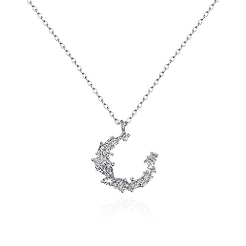 (WCJ Creative Simple 925 Sterling Silver Star Moon Clavicle Chain Female Necklace)
