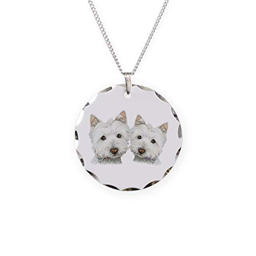 - CafePress Two Cute West Highland White Dogs Necklace Circle Charm Necklace with Round Pendant