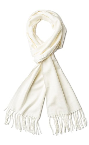 Cashmere Feel Winter Scarf, White (White Scarf)