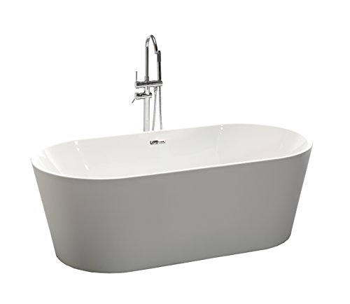 KIVA RHYME 59'' Freestanding Bathtub, 100% Pure Acrylic Soaking Bath Tub for Bathroom, cUPC Certified, High Glossy White, Model HS-ALLURE MINI by KIVA RHYME