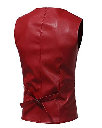 Veste Gilet Couleur Manches Bouton Unie Sans Homme Causual V Pu Rouge Costume neck PtTwaxqX