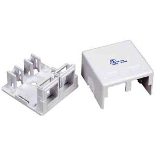 2 Port RJ45 Surface Mount Box White (Box only) - 10 Pieces