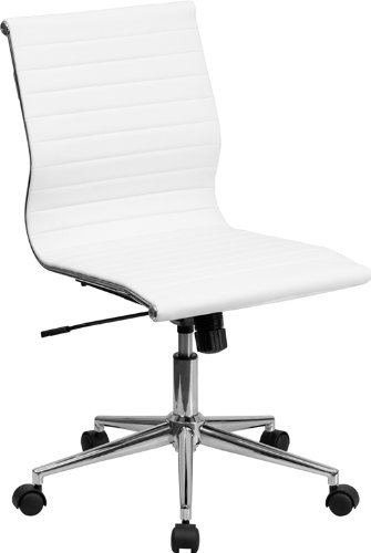 Mid-Back Armless White Ribbed Upholstered Leather Swivel Conference Chair
