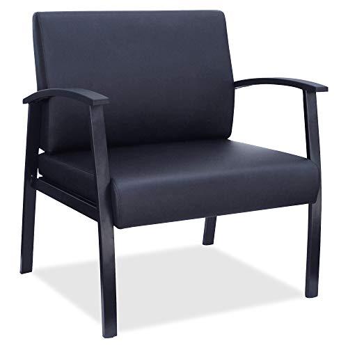 Lorell LLR68557 Big & Tall Black Leather Guest Chair ()