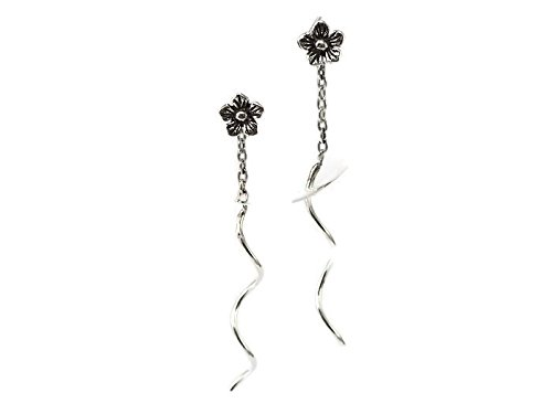 925 Sterling Silver Earring Chain with 4mm Cherry Blossom Flower (1 3/16
