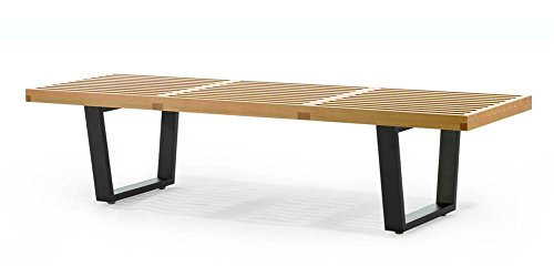 Contemporary Slat Bench in American Maple Finish