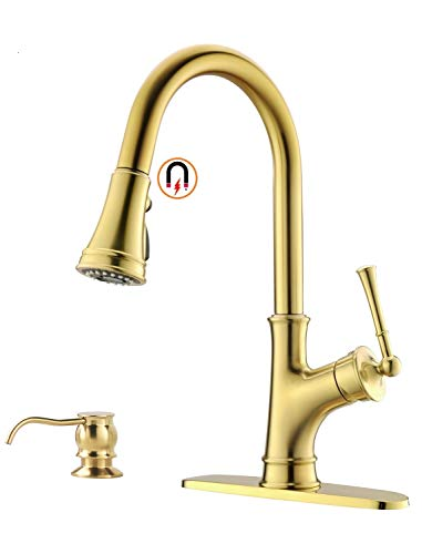 Gold Kitchen Faucet with Pull-Down Magnetic Docking Sprayer, Brushed Gold Single Handle 1 Hole High Arc Copper Pull Out Kitchen Sink Faucets, Champagne Bronze, APPASO (Polished Copper Kitchen Faucet)