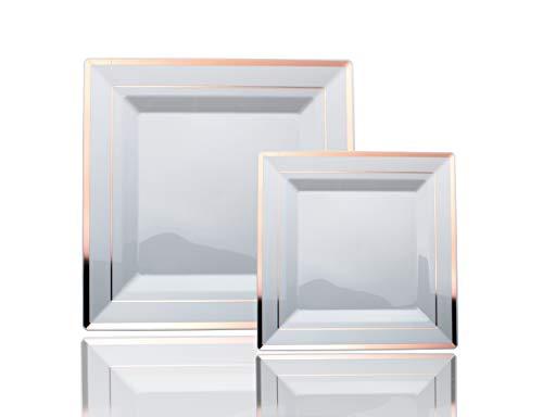 Exquisite 60-Pack premium disposable plastic plates, heavyweight square plastic plates: 30 x 10.25 Inch. Dinner Plates & 30 7.5 Inch. Salad/Dessert plates - Rose Gold