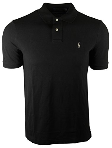 Silver Pony Shirt - Polo Ralph Lauren Men's Slim Fit Pique Mesh Polo Shirt (Small, Black (Silver Pony))