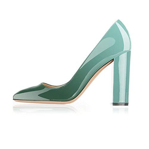 - Fericzot Pumps Women Sexy Patent Leather Pointed Toe Block Heels Pumps Gorgeous Evening Party Wedding Stiletto Shoes Plus Size Emerald 9M