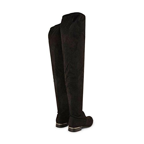 Footwear Sensation - Botas Efecto Arrugado mujer Negro - Black Microfibre